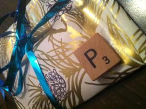 gift wrapping scrabble tiles